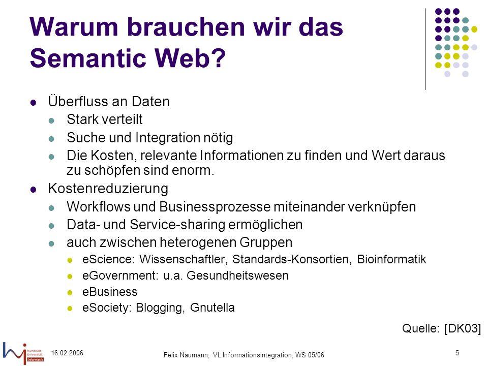 16.02.2006 Felix Naumann, VL Informationsintegration, WS 05/06 5 Warum brauchen wir das Semantic Web.