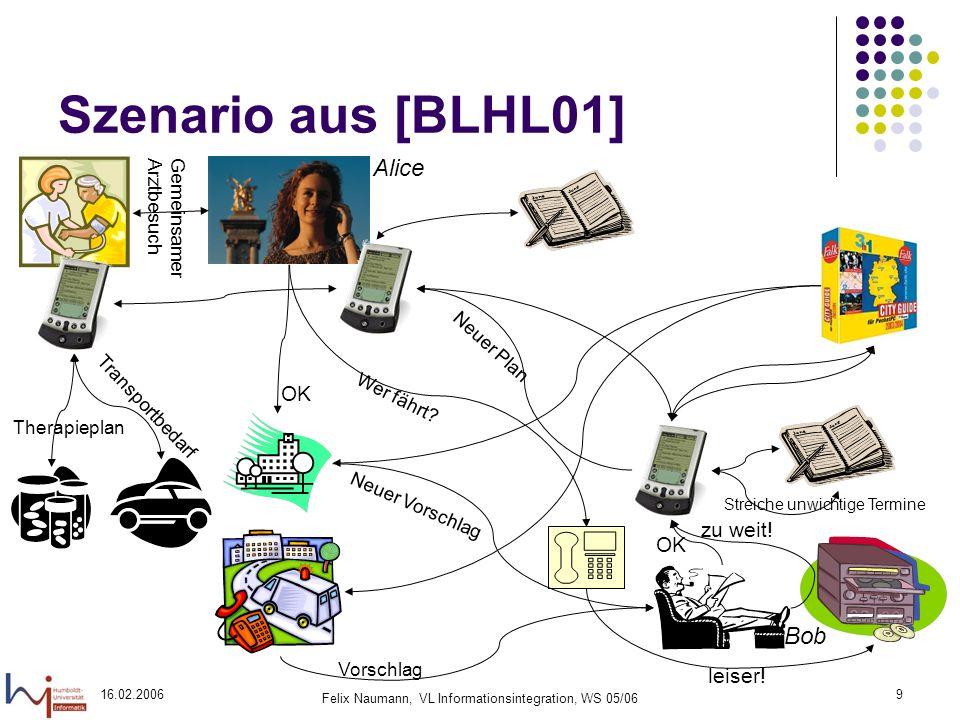 16.02.2006 Felix Naumann, VL Informationsintegration, WS 05/06 9 Szenario aus [BLHL01] leiser.