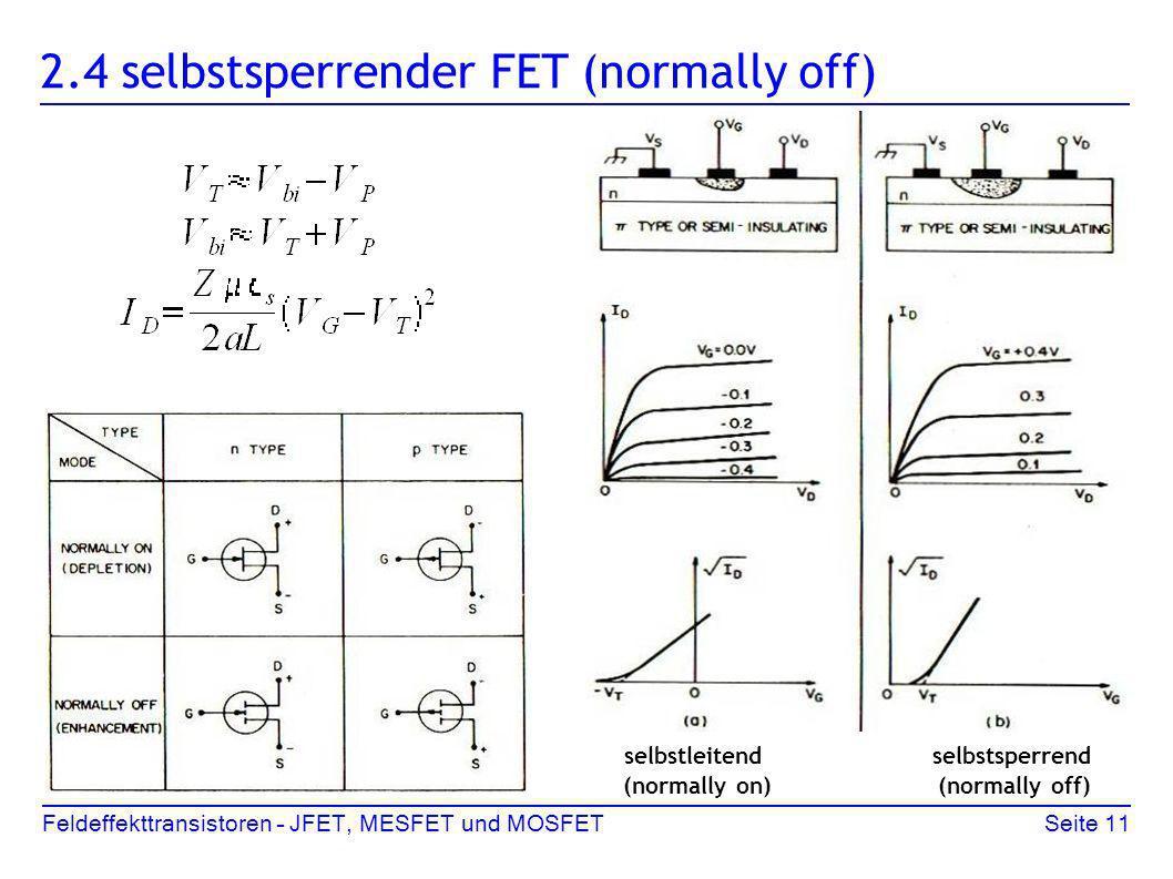 Feldeffekttransistoren – JFET, MESFET und MOSFETSeite 11 2.4 selbstsperrender FET (normally off) selbstleitend selbstsperrend (normally on) (normally