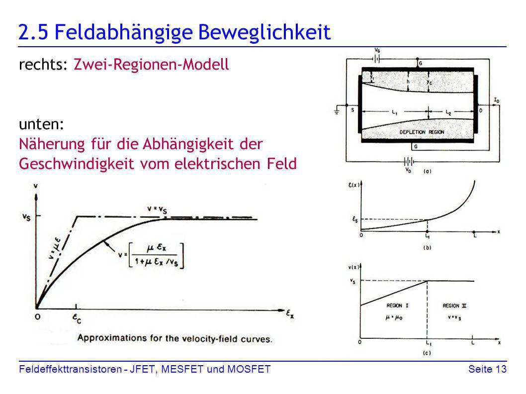 Feldeffekttransistoren – JFET, MESFET und MOSFETSeite 13 2.5 Feldabhängige Beweglichkeit rechts: Zwei-Regionen-Modell unten: Näherung für die Abhängig