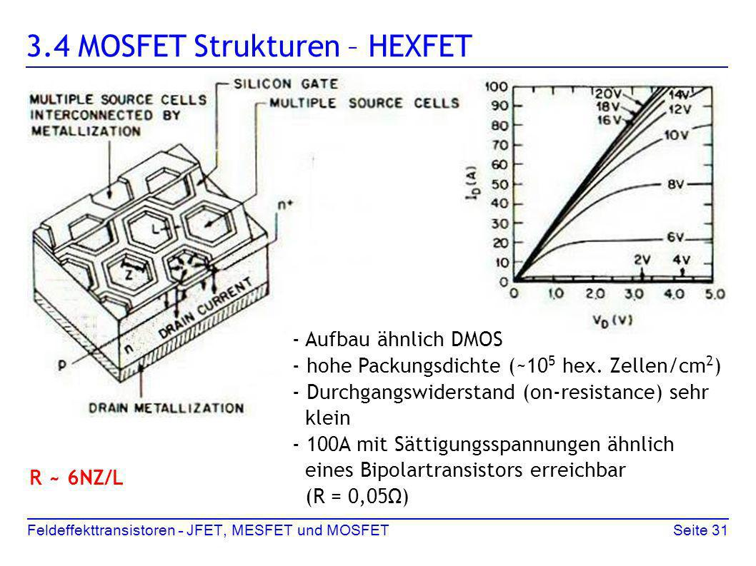 Seite 31Feldeffekttransistoren – JFET, MESFET und MOSFET 3.4 MOSFET Strukturen – HEXFET - Aufbau ähnlich DMOS - hohe Packungsdichte (~10 5 hex. Zellen