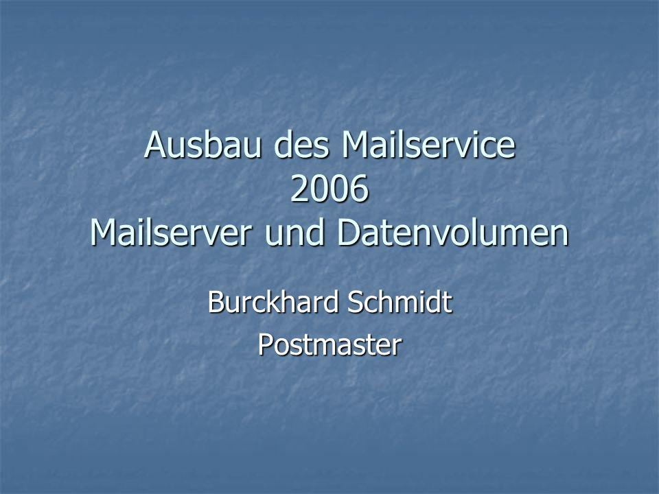 Ausbau des Mailservice 2006 Mailserver und Datenvolumen Burckhard Schmidt Postmaster