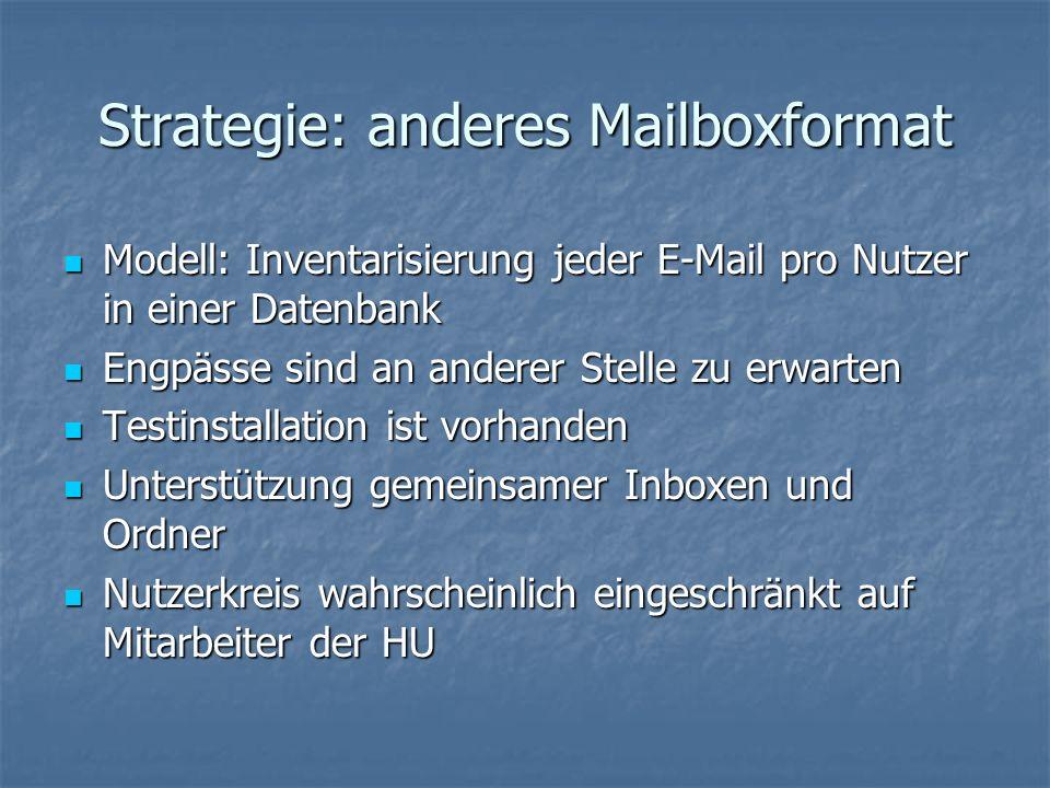 Strategie: anderes Mailboxformat Modell: Inventarisierung jeder E-Mail pro Nutzer in einer Datenbank Modell: Inventarisierung jeder E-Mail pro Nutzer in einer Datenbank Engpässe sind an anderer Stelle zu erwarten Engpässe sind an anderer Stelle zu erwarten Testinstallation ist vorhanden Testinstallation ist vorhanden Unterstützung gemeinsamer Inboxen und Ordner Unterstützung gemeinsamer Inboxen und Ordner Nutzerkreis wahrscheinlich eingeschränkt auf Mitarbeiter der HU Nutzerkreis wahrscheinlich eingeschränkt auf Mitarbeiter der HU