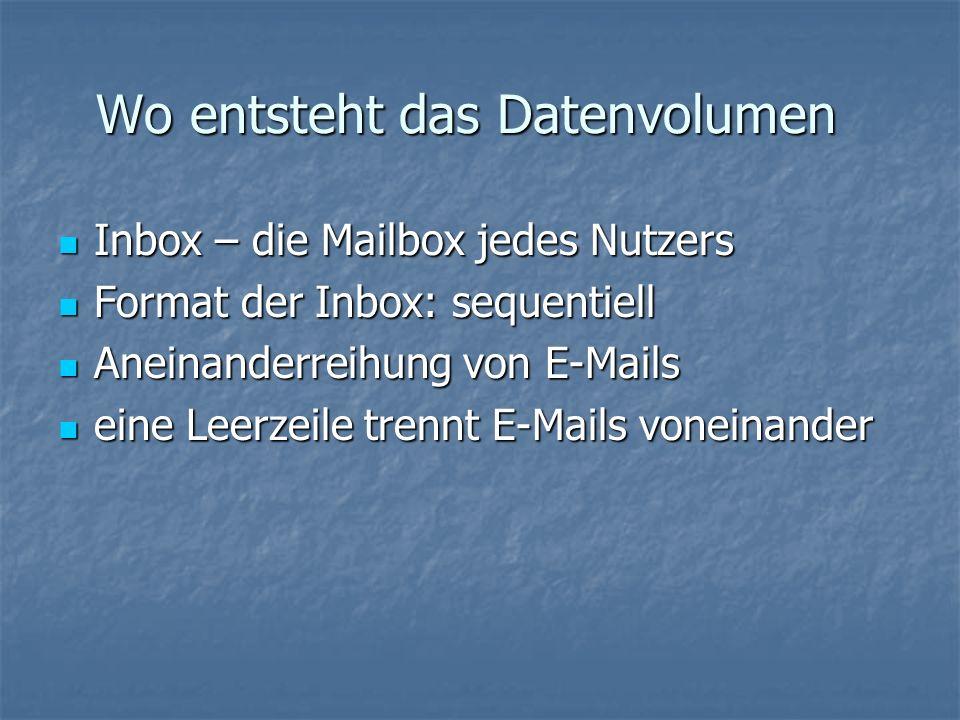 Wo entsteht das Datenvolumen Inbox – die Mailbox jedes Nutzers Inbox – die Mailbox jedes Nutzers Format der Inbox: sequentiell Format der Inbox: sequentiell Aneinanderreihung von E-Mails Aneinanderreihung von E-Mails eine Leerzeile trennt E-Mails voneinander eine Leerzeile trennt E-Mails voneinander