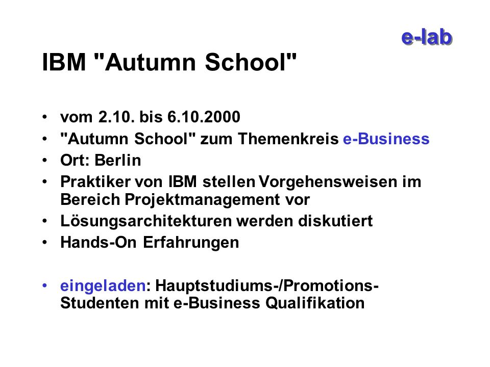 e-lab IBM Autumn School vom 2.10.
