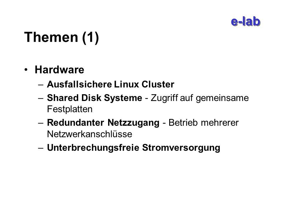 e-lab Themen (1) Hardware –Ausfallsichere Linux Cluster –Shared Disk Systeme - Zugriff auf gemeinsame Festplatten –Redundanter Netzzugang - Betrieb mehrerer Netzwerkanschlüsse –Unterbrechungsfreie Stromversorgung