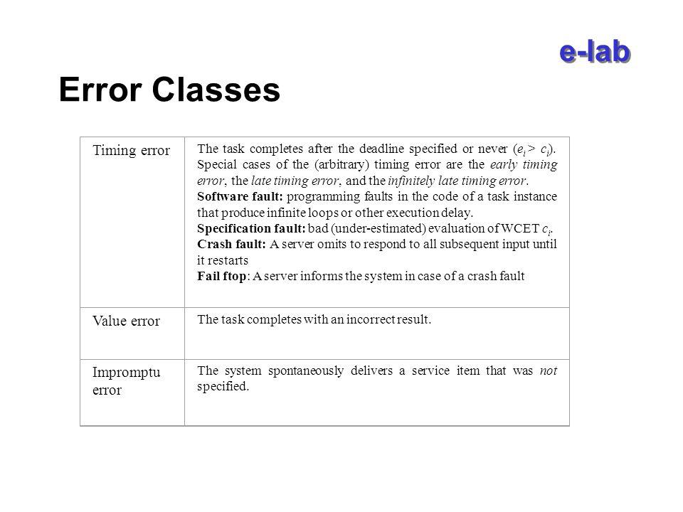 e-lab Fault Tolerance Techniques Error detection Error diagnosis Error recovery –Backward recovery –Forward recovery –Compensation Hardware Fault Tolerance Software Fault Tolerance