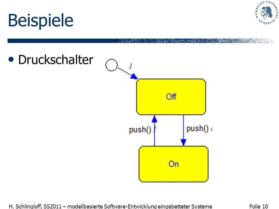 Folie 10 H. Schlingloff, SS2011 – modellbasierte Software-Entwicklung eingebetteter Systeme Beispiele Druckschalter
