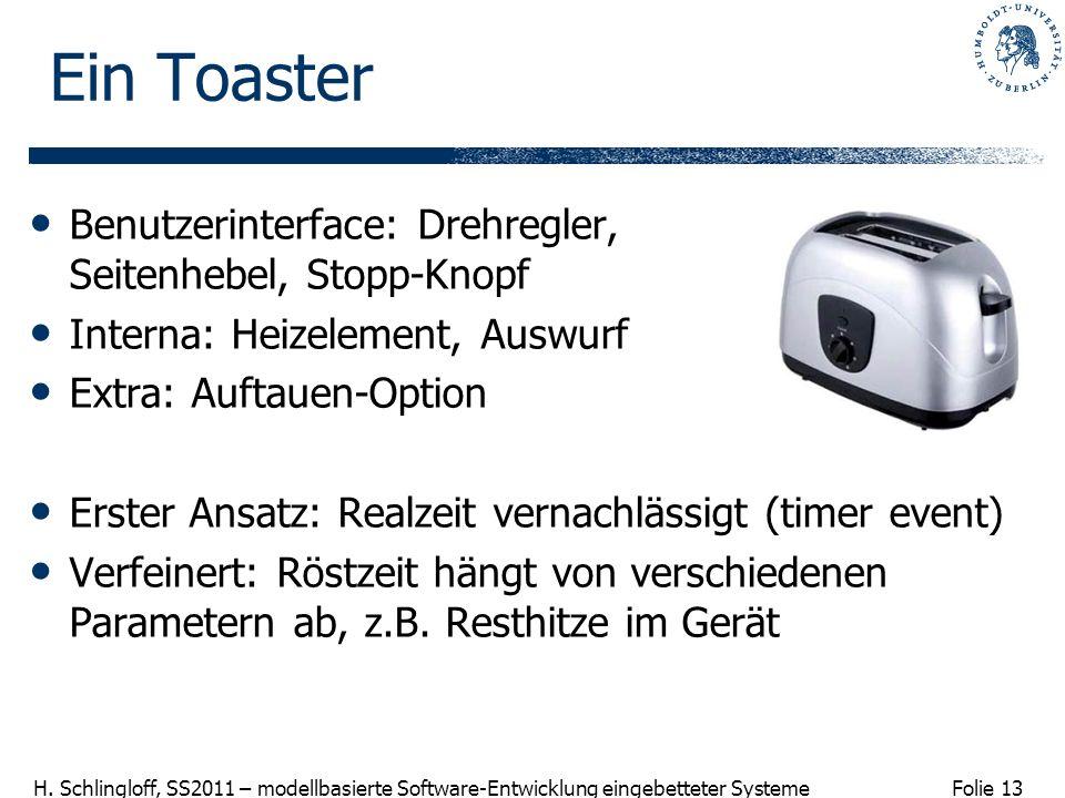 Folie 13 H. Schlingloff, SS2011 – modellbasierte Software-Entwicklung eingebetteter Systeme Ein Toaster Benutzerinterface: Drehregler, Seitenhebel, St