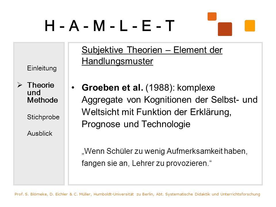 H - A - M - L - E - T Einleitung Theorie und Methode Stichprobe Ausblick Subjektive Theorien – Element der Handlungsmuster Groeben et al. (1988): komp