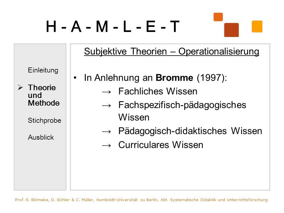 H - A - M - L - E - T Einleitung Theorie und Methode Stichprobe Ausblick Subjektive Theorien – Operationalisierung In Anlehnung an Bromme (1997): Fach
