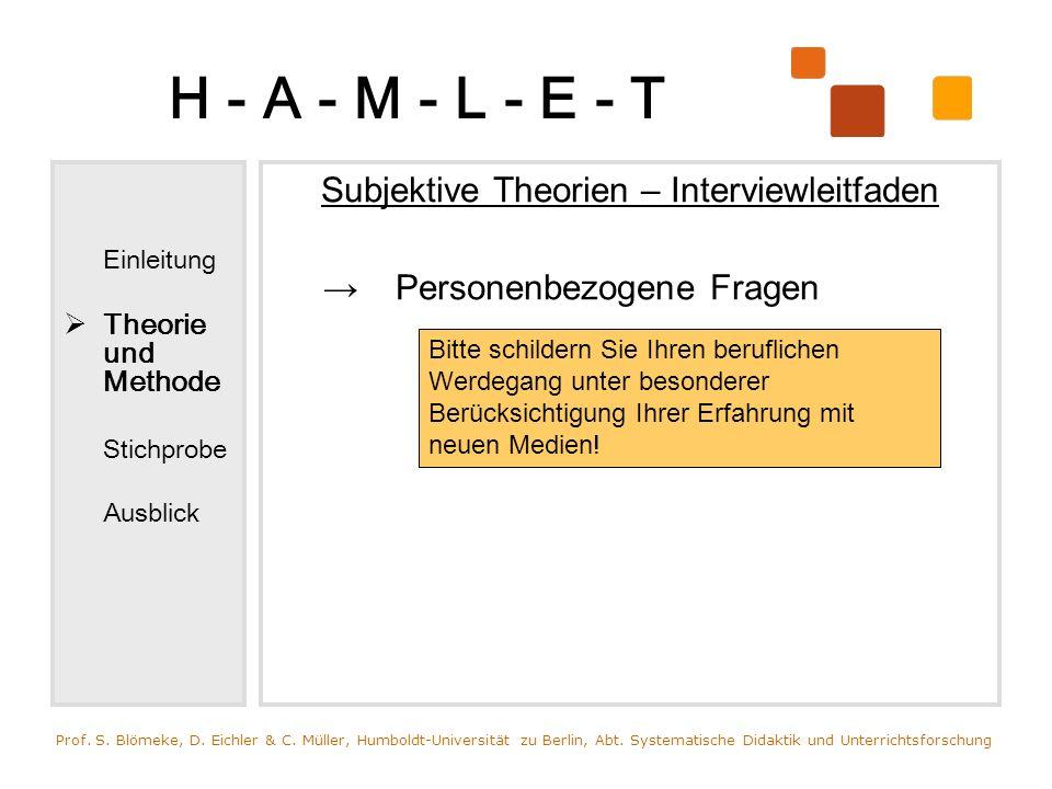 H - A - M - L - E - T Einleitung Theorie und Methode Stichprobe Ausblick Subjektive Theorien – Interviewleitfaden Personenbezogene Fragen Prof. S. Blö