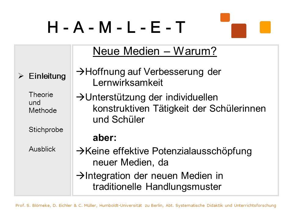 H - A - M - L - E - T Einleitung Theorie und Methode Stichprobe Ausblick Neue Medien – Warum? Hoffnung auf Verbesserung der Lernwirksamkeit Unterstütz