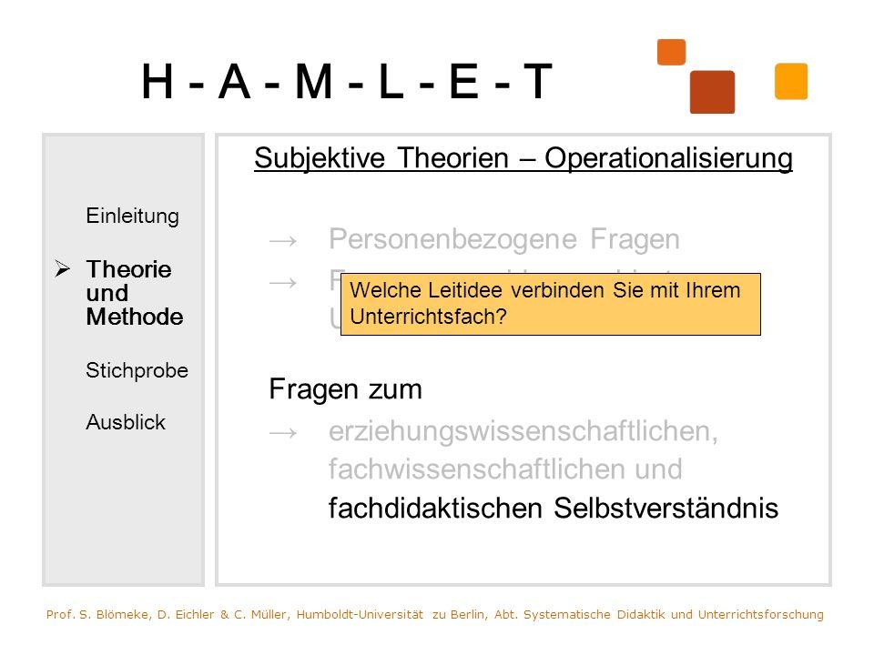 H - A - M - L - E - T Einleitung Theorie und Methode Stichprobe Ausblick Subjektive Theorien – Operationalisierung Personenbezogene Fragen Fragen zum
