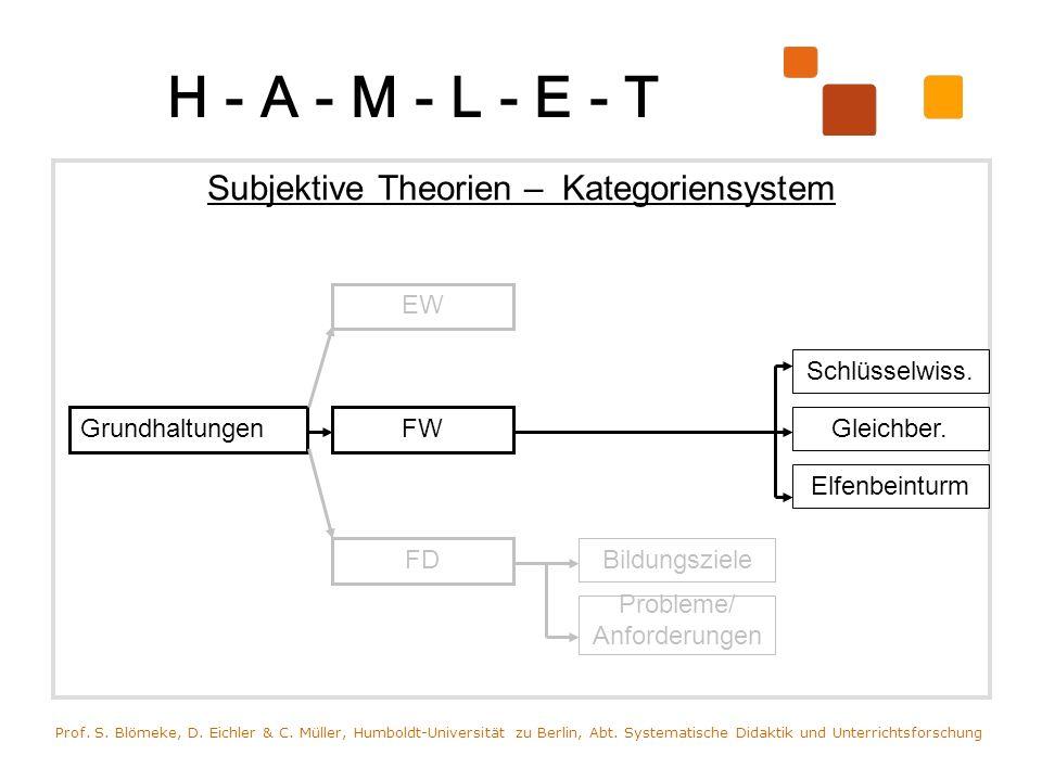 H - A - M - L - E - T Subjektive Theorien – Kategoriensystem Prof. S. Blömeke, D. Eichler & C. Müller, Humboldt-Universität zu Berlin, Abt. Systematis