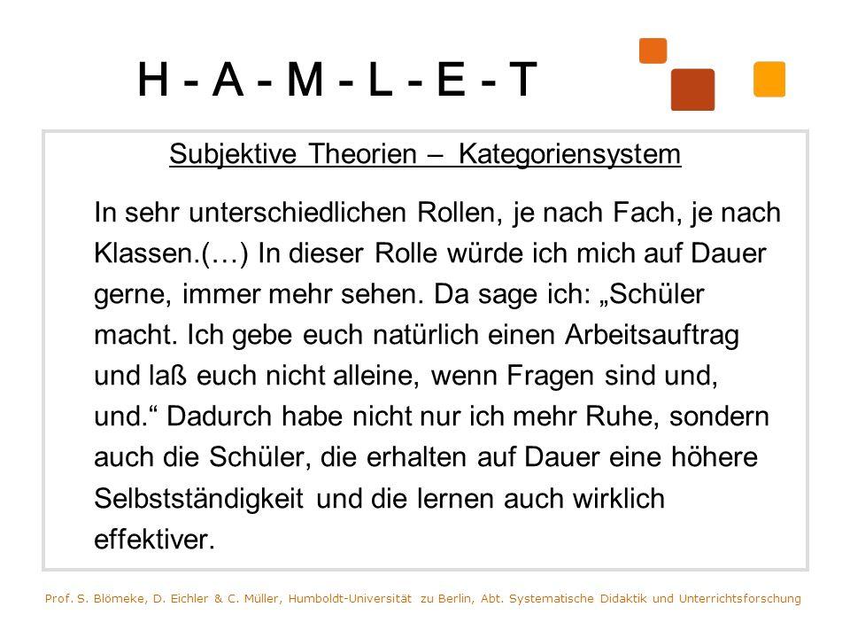 H - A - M - L - E - T Subjektive Theorien – Kategoriensystem In sehr unterschiedlichen Rollen, je nach Fach, je nach Klassen.(…) In dieser Rolle würde