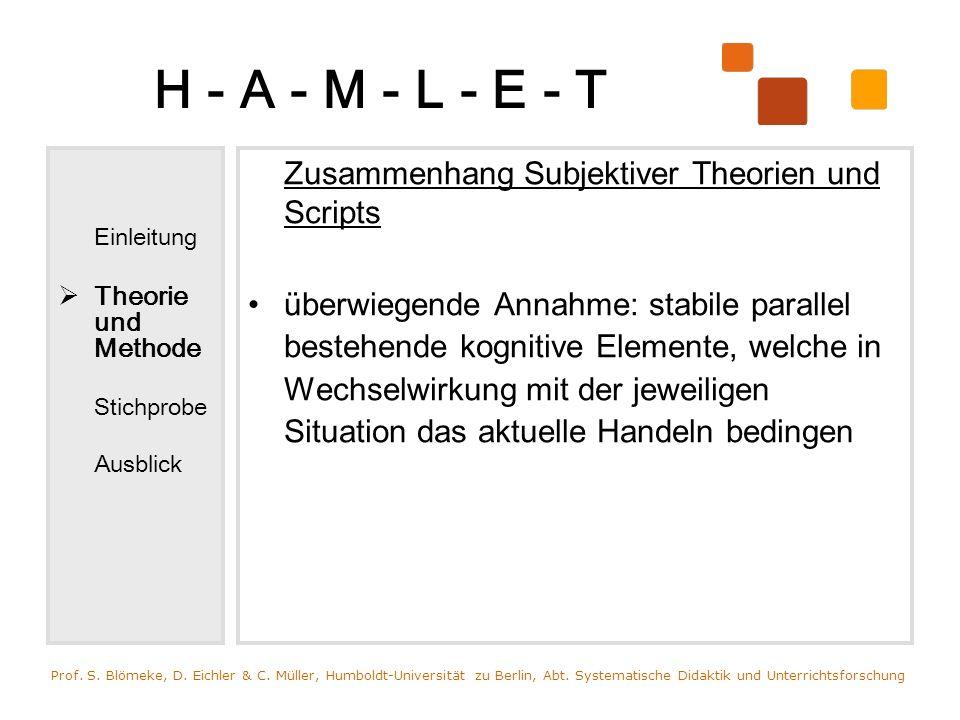 H - A - M - L - E - T Einleitung Theorie und Methode Stichprobe Ausblick Zusammenhang Subjektiver Theorien und Scripts überwiegende Annahme: stabile p