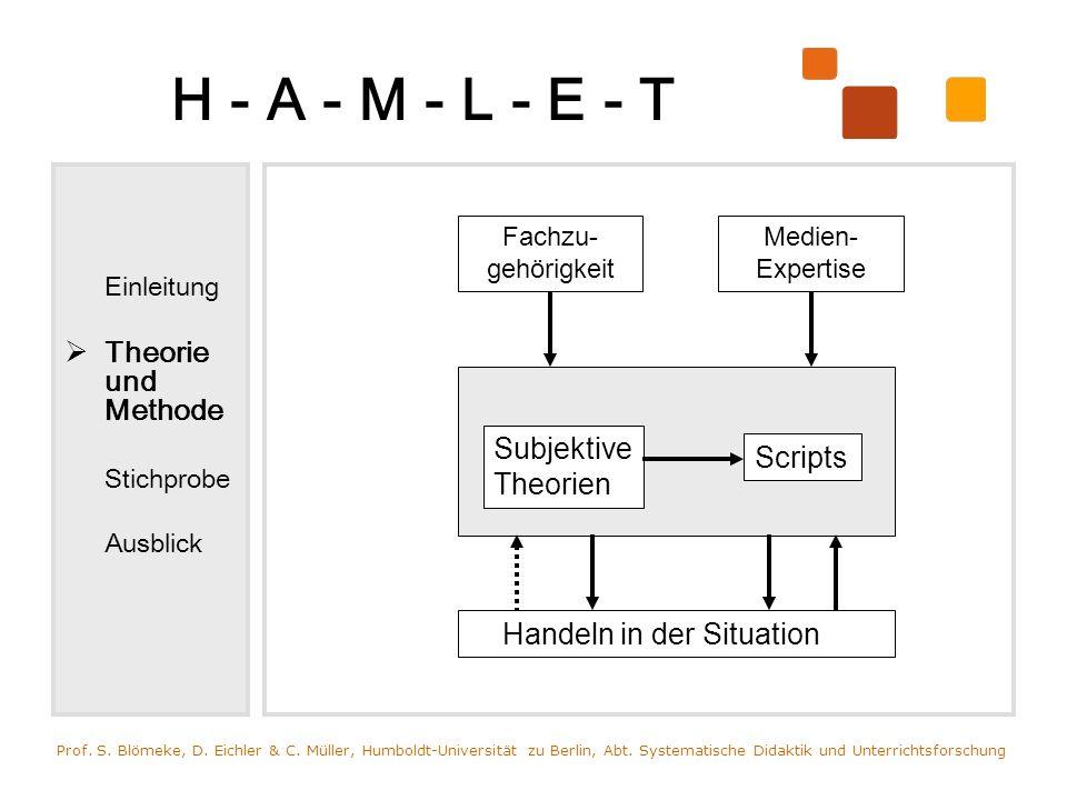 H - A - M - L - E - T Einleitung Theorie und Methode Stichprobe Ausblick Prof. S. Blömeke, D. Eichler & C. Müller, Humboldt-Universität zu Berlin, Abt