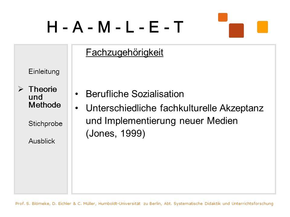 H - A - M - L - E - T Einleitung Theorie und Methode Stichprobe Ausblick Fachzugehörigkeit Berufliche Sozialisation Unterschiedliche fachkulturelle Ak