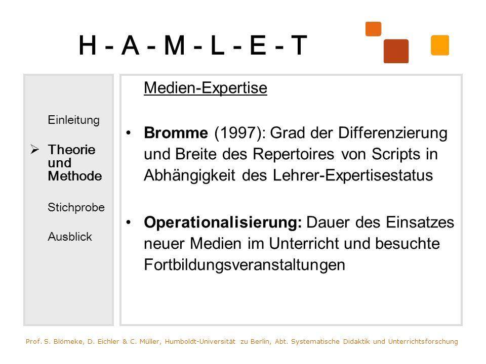H - A - M - L - E - T Einleitung Theorie und Methode Stichprobe Ausblick Medien-Expertise Bromme (1997): Grad der Differenzierung und Breite des Reper