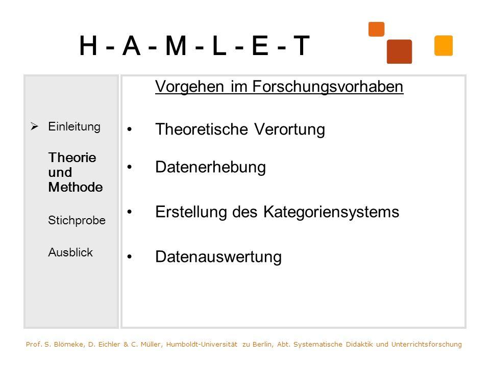 H - A - M - L - E - T Einleitung Theorie und Methode Stichprobe Ausblick Vorgehen im Forschungsvorhaben Theoretische Verortung Datenerhebung Erstellun