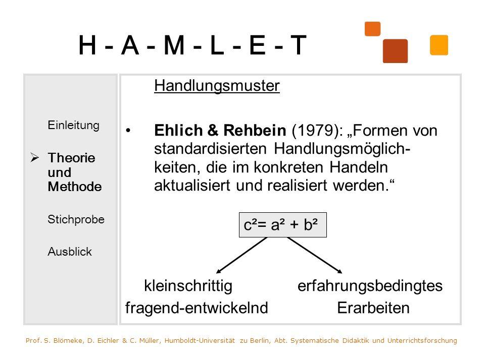 H - A - M - L - E - T Einleitung Theorie und Methode Stichprobe Ausblick Handlungsmuster Ehlich & Rehbein (1979): Formen von standardisierten Handlung