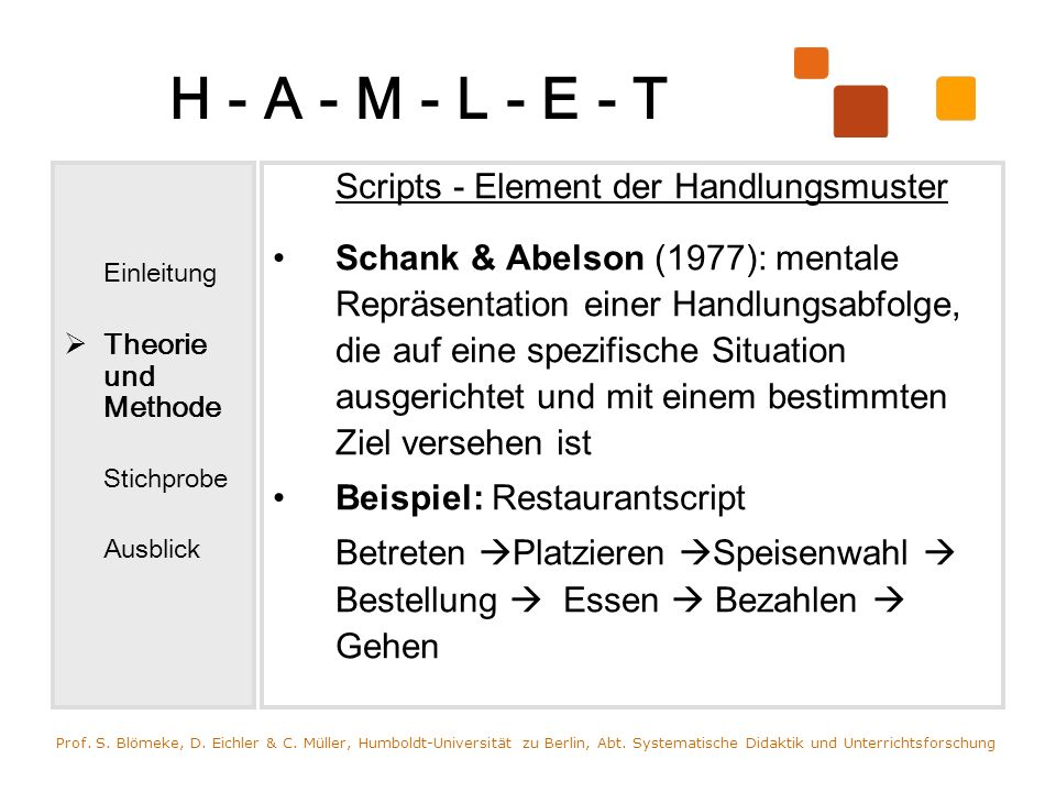 H - A - M - L - E - T Einleitung Theorie und Methode Stichprobe Ausblick Scripts - Element der Handlungsmuster Schank & Abelson (1977): mentale Repräs