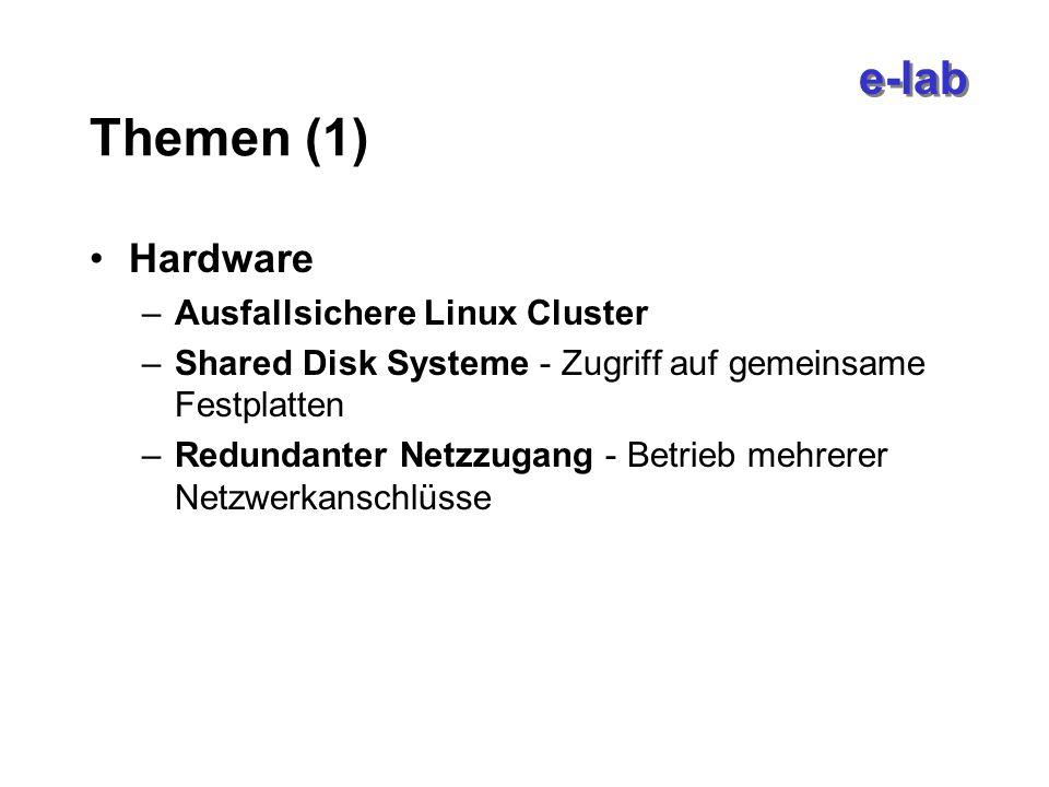 e-lab Themen (1) Hardware –Ausfallsichere Linux Cluster –Shared Disk Systeme - Zugriff auf gemeinsame Festplatten –Redundanter Netzzugang - Betrieb mehrerer Netzwerkanschlüsse