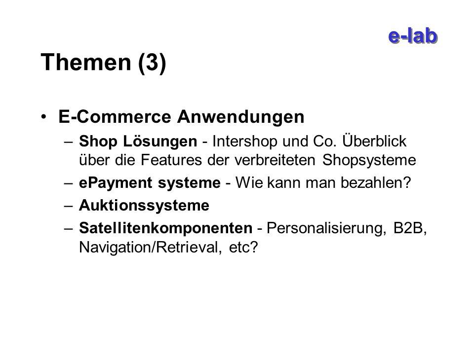 e-lab Themen (3) E-Commerce Anwendungen –Shop Lösungen - Intershop und Co.