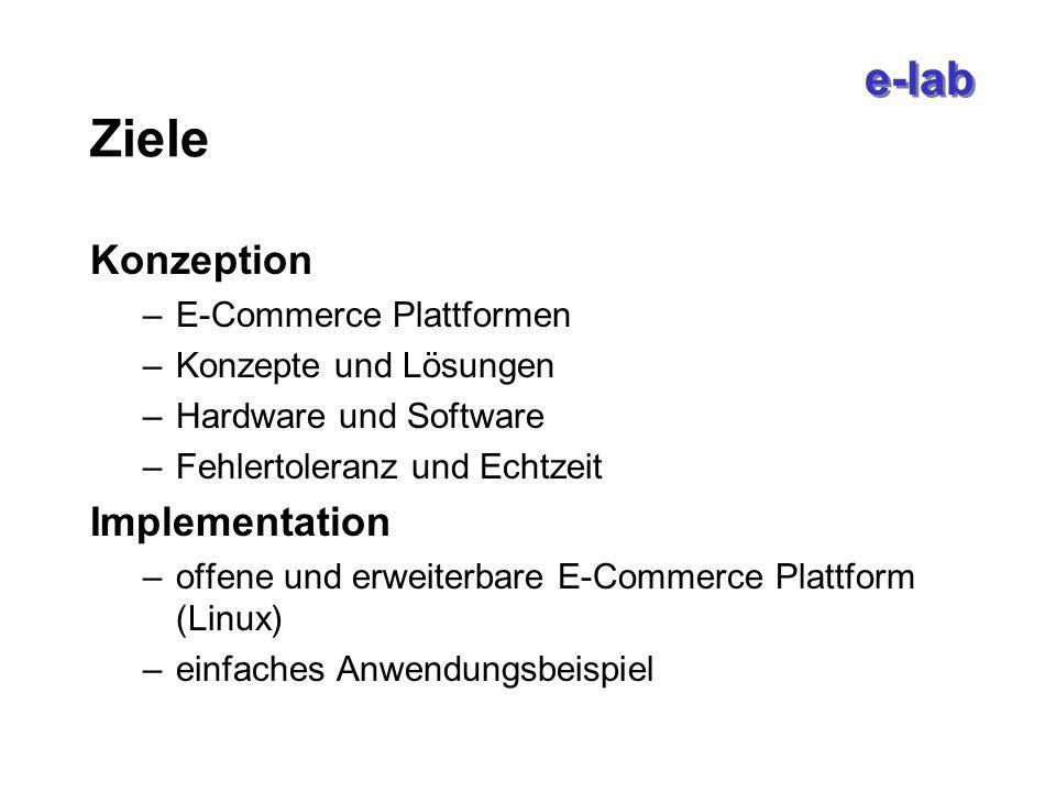 Ziele Konzeption –E-Commerce Plattformen –Konzepte und Lösungen –Hardware und Software –Fehlertoleranz und Echtzeit Implementation –offene und erweiterbare E-Commerce Plattform (Linux) –einfaches Anwendungsbeispiel