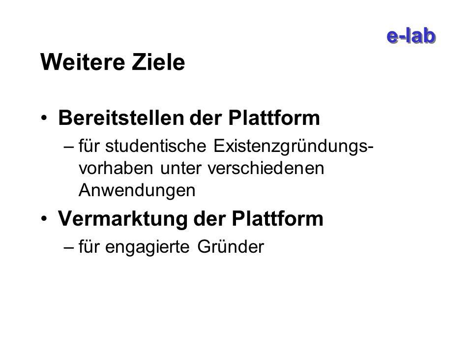 e-lab Weitere Ziele Bereitstellen der Plattform –für studentische Existenzgründungs- vorhaben unter verschiedenen Anwendungen Vermarktung der Plattform –für engagierte Gründer
