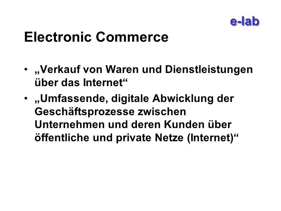 e-lab Electronic Commerce Verkauf von Waren und Dienstleistungen über das Internet Umfassende, digitale Abwicklung der Geschäftsprozesse zwischen Unternehmen und deren Kunden über öffentliche und private Netze (Internet)