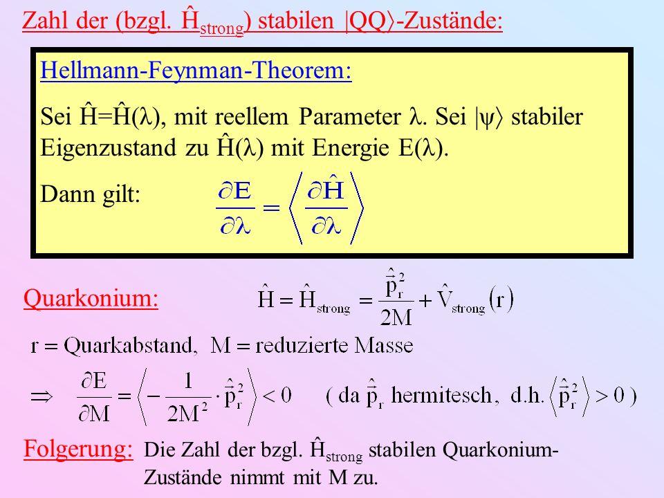Zahl der (bzgl. Ĥ strong ) stabilen |QQ -Zustände: Hellmann-Feynman-Theorem: Sei Ĥ=Ĥ(λ), mit reellem Parameter λ. Sei |ψ stabiler Eigenzustand zu Ĥ(λ)