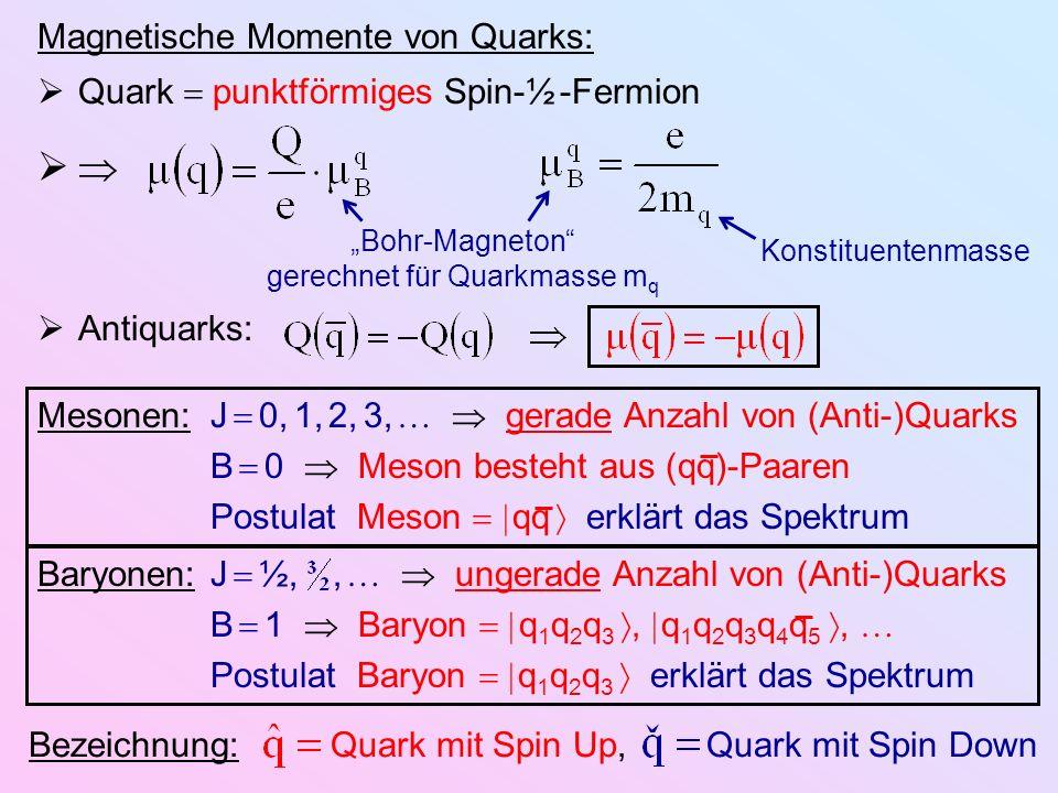 Magnetische Momente von Quarks: Quark punktförmiges Spin-½ -Fermion Antiquarks: Konstituentenmasse Bohr-Magneton gerechnet für Quarkmasse m q Mesonen: