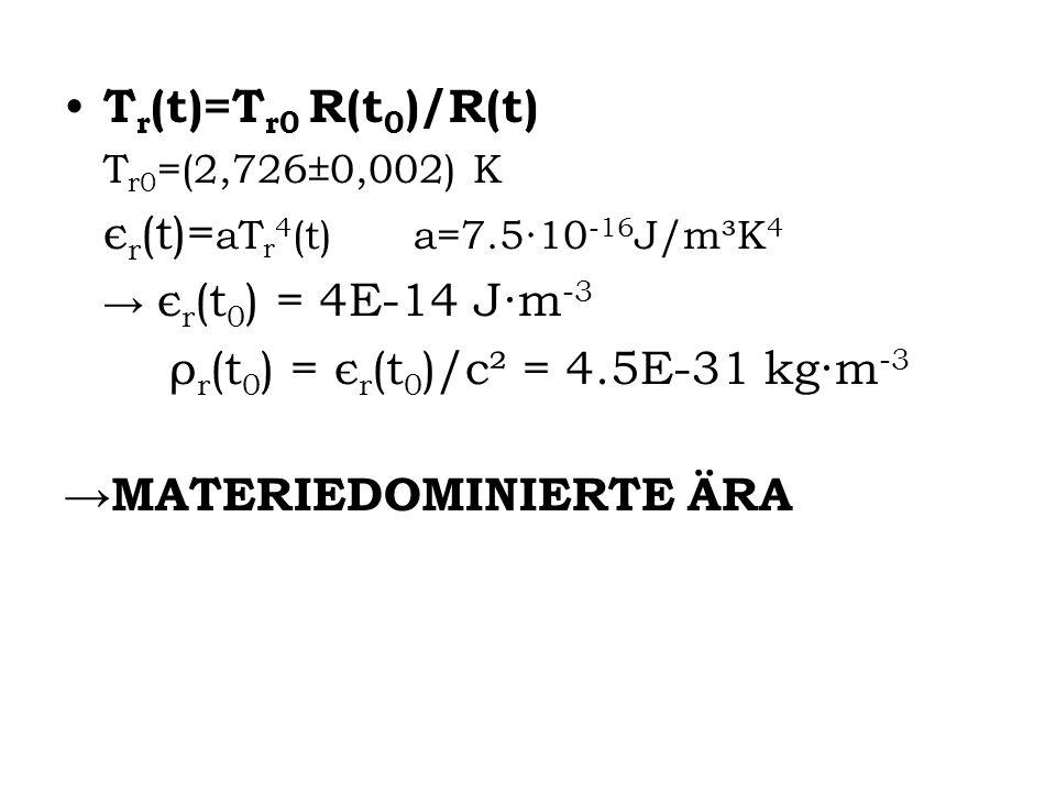 T r (t)=T r0 R(t 0 )/R(t) T r0 =(2,726±0,002) K є r (t)= aT r 4 (t) a=7.510 -16 J/m³K 4 є r (t 0 ) = 4E-14 Jm -3 ρ r (t 0 ) = є r (t 0 )/c² = 4.5E-31