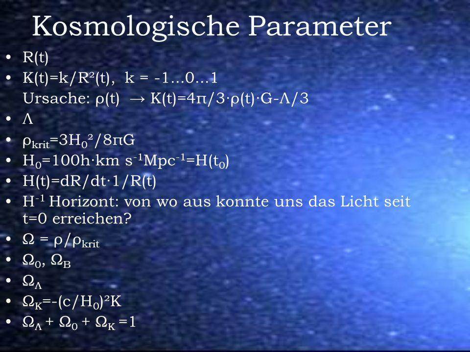 Kosmologische Parameter R(t) Κ(t)=k/R²(t), k = -1...0...1 Ursache: ρ(t) K(t)=4π/3ρ(t)G-Л/3 Л ρ krit =3H 0 ²/8πG H 0 =100hkm s -1 Mpc -1 =H(t 0 ) H(t)=