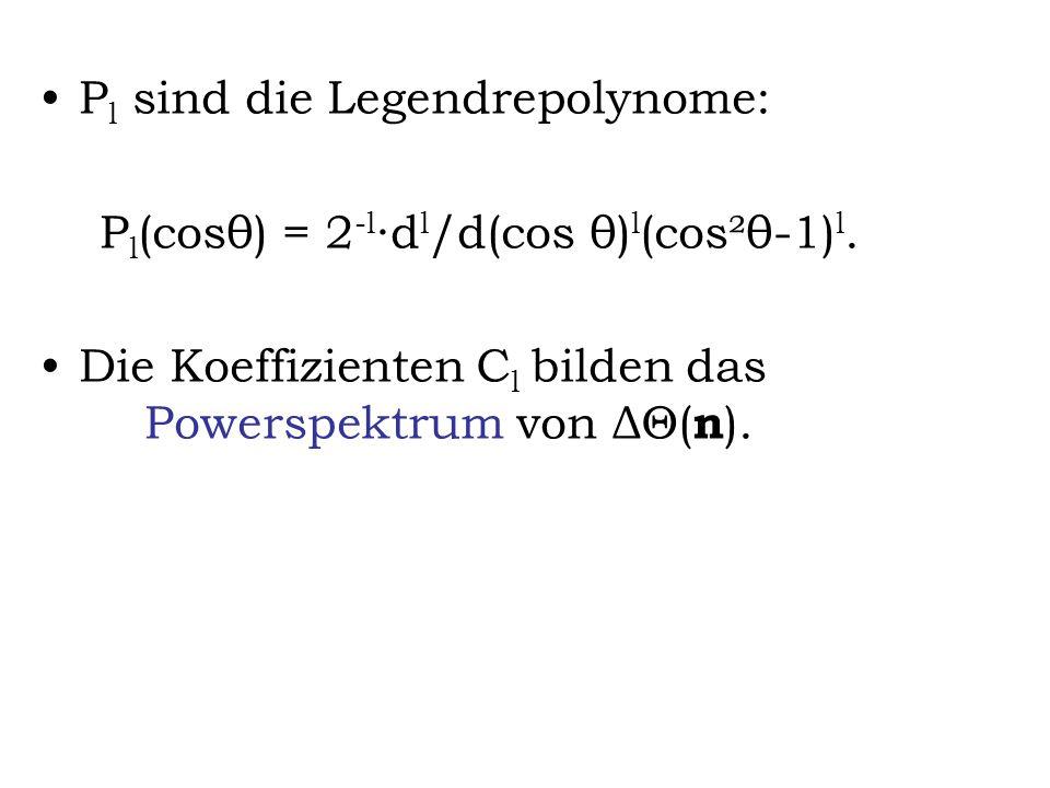 P l sind die Legendrepolynome: P l (cosθ) = 2 -l d l /d(cos θ) l (cos²θ-1) l. Die Koeffizienten C l bilden das Powerspektrum von ΔΘ( n ).