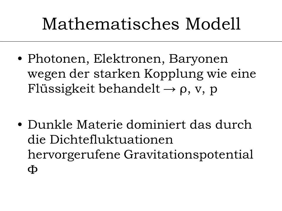 Mathematisches Modell Photonen, Elektronen, Baryonen wegen der starken Kopplung wie eine Flüssigkeit behandelt ρ, v, p Dunkle Materie dominiert das du