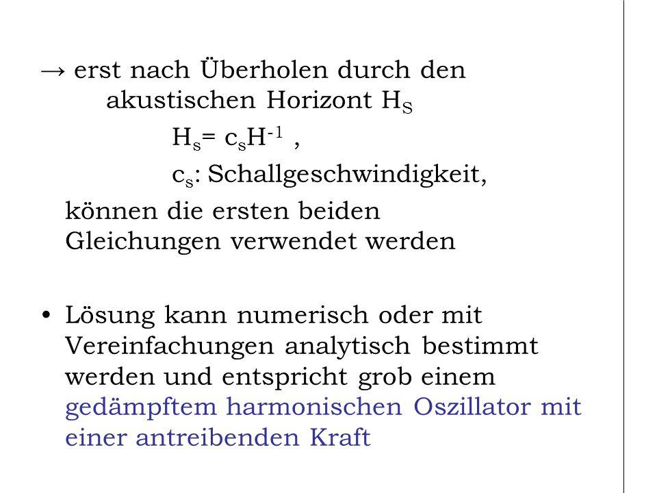 erst nach Überholen durch den akustischen Horizont H S H s = c s H -1, c s : Schallgeschwindigkeit, können die ersten beiden Gleichungen verwendet wer