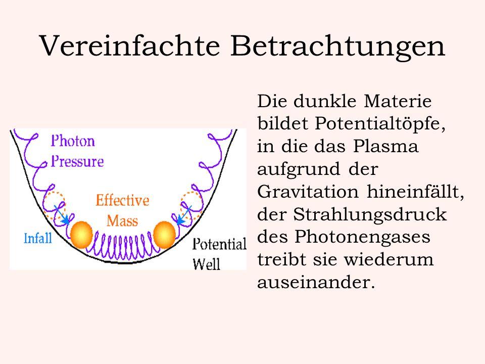 Vereinfachte Betrachtungen Die dunkle Materie bildet Potentialtöpfe, in die das Plasma aufgrund der Gravitation hineinfällt, der Strahlungsdruck des P