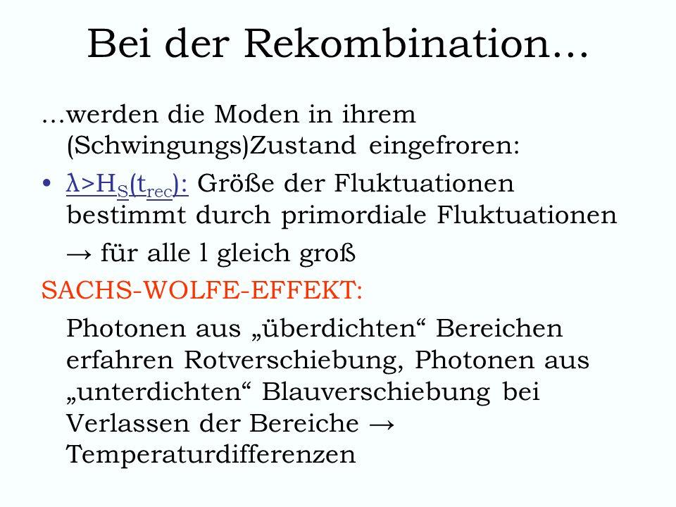 Bei der Rekombination......werden die Moden in ihrem (Schwingungs)Zustand eingefroren: λ>H S (t rec ): Größe der Fluktuationen bestimmt durch primordi