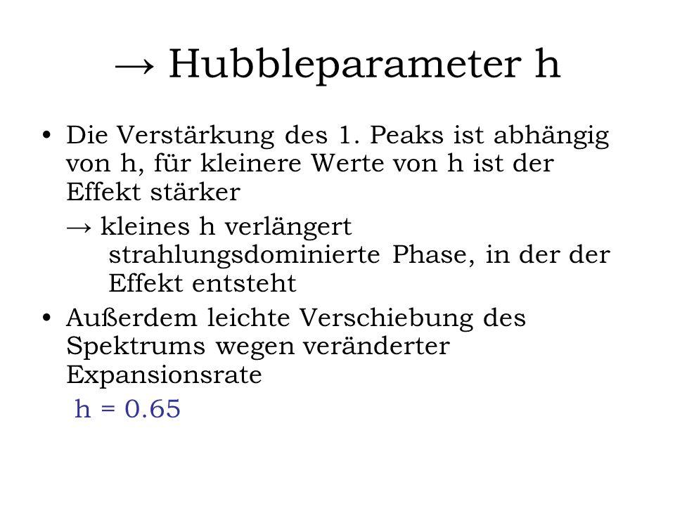 Hubbleparameter h Die Verstärkung des 1. Peaks ist abhängig von h, für kleinere Werte von h ist der Effekt stärker kleines h verlängert strahlungsdomi