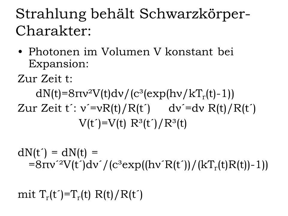 Strahlung behält Schwarzkörper- Charakter: Photonen im Volumen V konstant bei Expansion: Zur Zeit t: dN(t)=8πν²V(t)dν/(c³(exp(hν/kT r (t)-1)) Zur Zeit