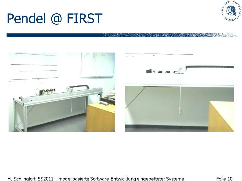 Folie 10 H. Schlingloff, SS2011 – modellbasierte Software-Entwicklung eingebetteter Systeme Pendel @ FIRST