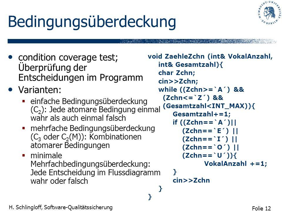 Folie 12 H. Schlingloff, Software-Qualitätssicherung Bedingungsüberdeckung condition coverage test; Überprüfung der Entscheidungen im Programm Variant