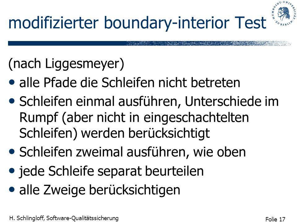 Folie 17 H. Schlingloff, Software-Qualitätssicherung modifizierter boundary-interior Test (nach Liggesmeyer) alle Pfade die Schleifen nicht betreten S