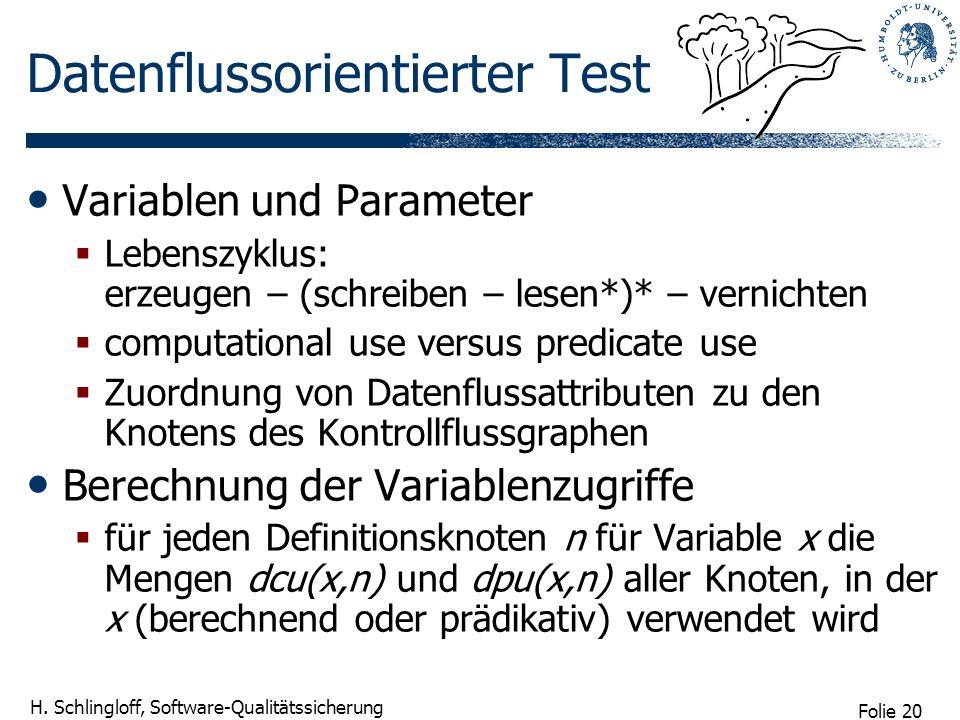 Folie 20 H. Schlingloff, Software-Qualitätssicherung Datenflussorientierter Test Variablen und Parameter Lebenszyklus: erzeugen – (schreiben – lesen*)