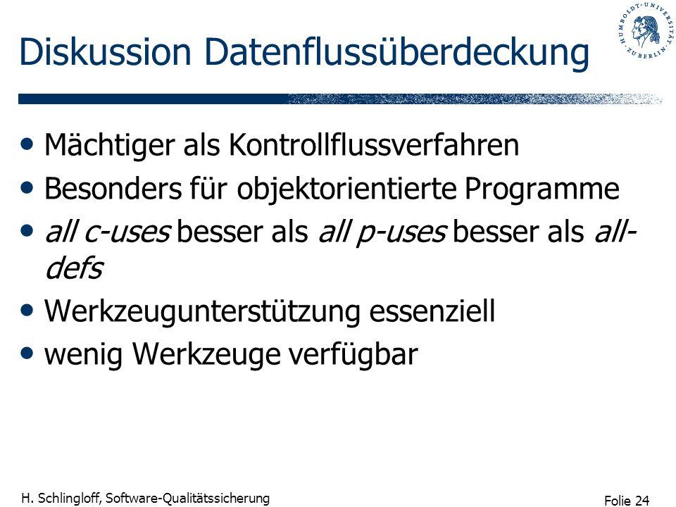 Folie 24 H. Schlingloff, Software-Qualitätssicherung Diskussion Datenflussüberdeckung Mächtiger als Kontrollflussverfahren Besonders für objektorienti