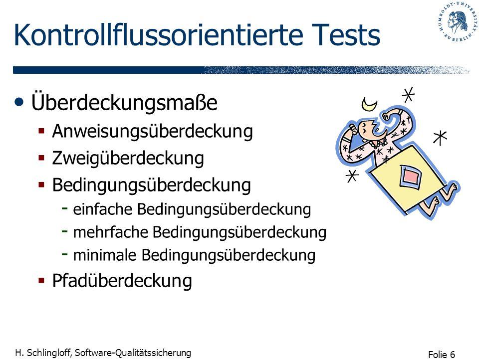 Folie 6 H. Schlingloff, Software-Qualitätssicherung Kontrollflussorientierte Tests Überdeckungsmaße Anweisungsüberdeckung Zweigüberdeckung Bedingungsü