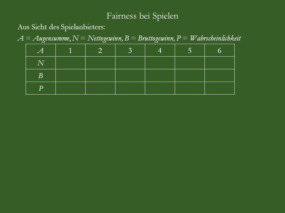 Fairness bei Spielen Aus Sicht des Spielanbieters: A = Augensumme, N = Nettogewinn, B = Bruttogewinn, P = Wahrscheinlichkeit A123456 N B P